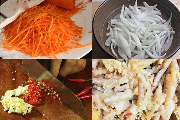 Cách làm nộm chân gà rút xương : sơ chế cà rốt, hành tây ...